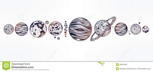 Collection Of Planets Solar System Dotwork Set Stock