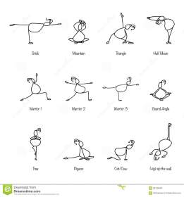 Hand Drawing Line Cartoon Yoga For Pregnancy Stock Vector