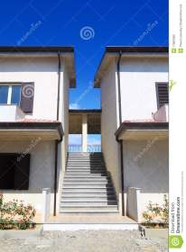 Stairs Between Two Two story Houses Stock Photo Image of