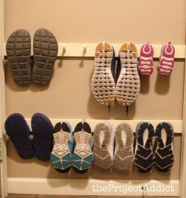 wall shoe storage rack diy shoes hacks pegs mounted solutions organization closet mudroom organizer bedroom hanging hack clever project peg