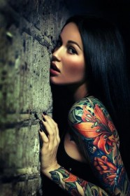 arm tattoo sleeve flower tattoos arms both inked brightly intensely ornamented colored
