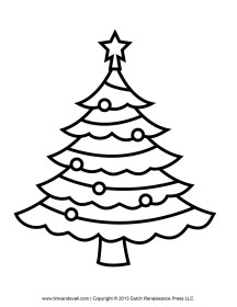 christmas tree coloring pages outline clip printable template children simple printables