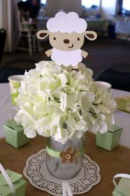 shower centerpiece lamb decorations centerpieces sheep stakes theme showers tulamama birthday parties baptism boy flowers homemade favorites themes revisit later