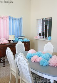 reveal gender party decorations table paper baby shower pink goes kitchen garland decorated cute easy poms hung pass circle through