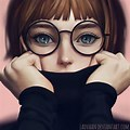 Pencil Sketch Cute Girl Drawing With Glasses