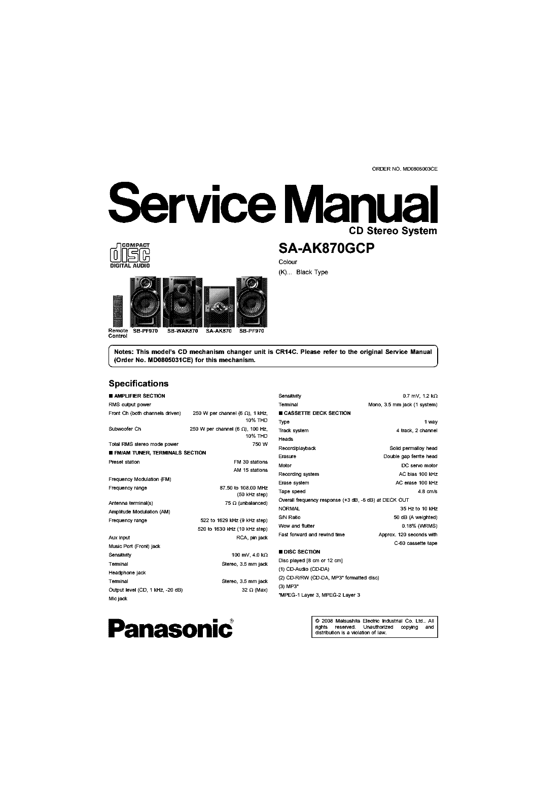 Panasonic Sa Ak44 User Manual