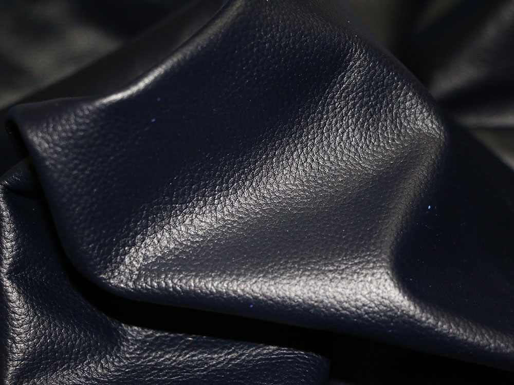 Navy Blue Cowhide Leather