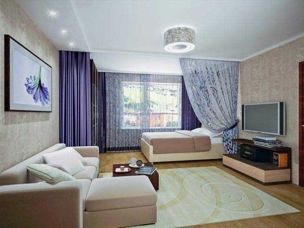 дизайн комнаты 20 кв м спальни и гостиной вместе 2