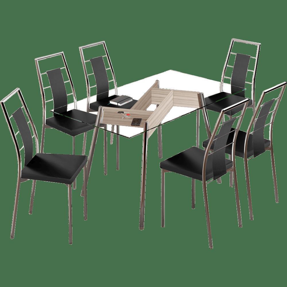 Conjunto Sala de Jantar Carraro com 6 Cadeiras em Ao