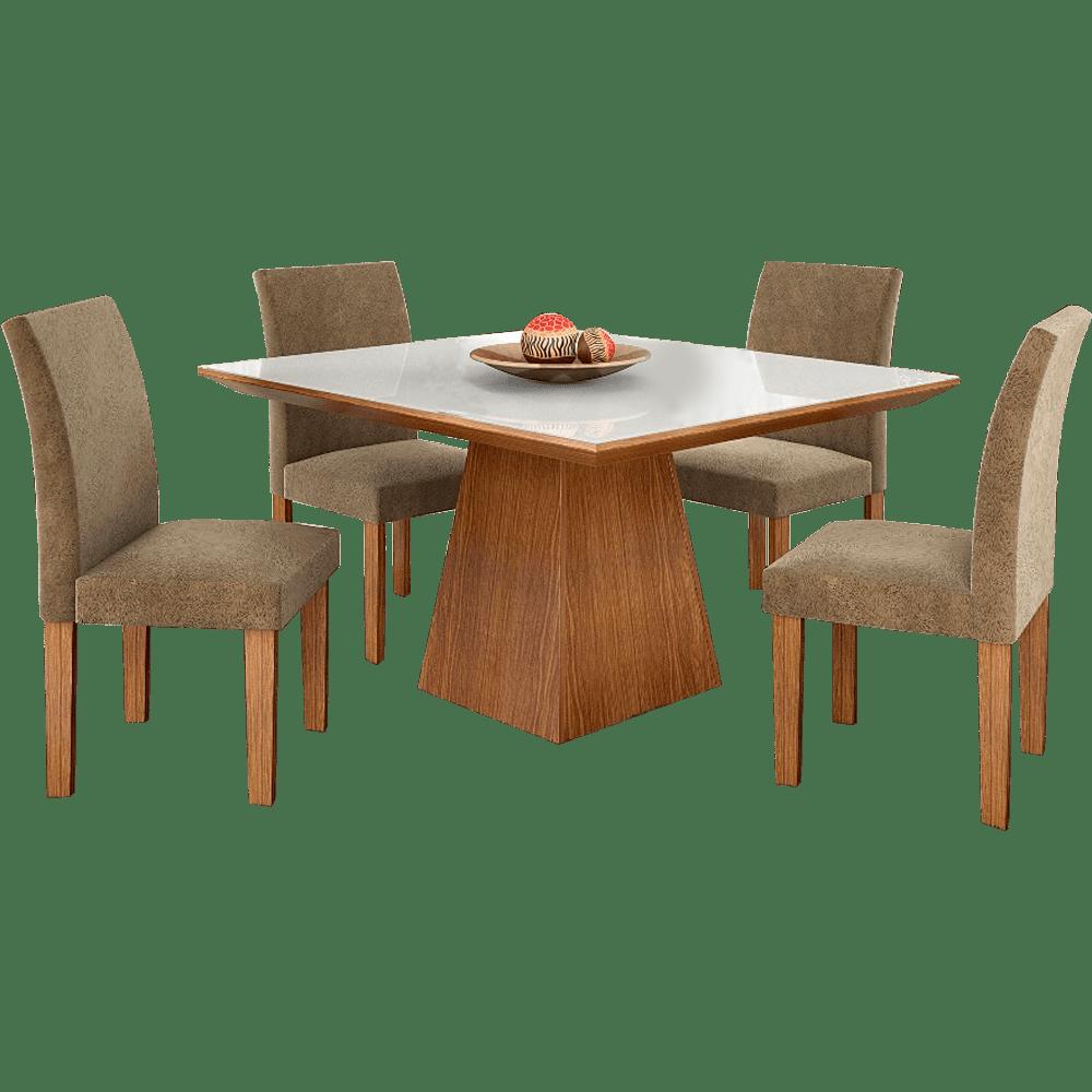 Mesa de Jantar com 4 Cadeiras Pietra Lj Mveis  Novo Mundo