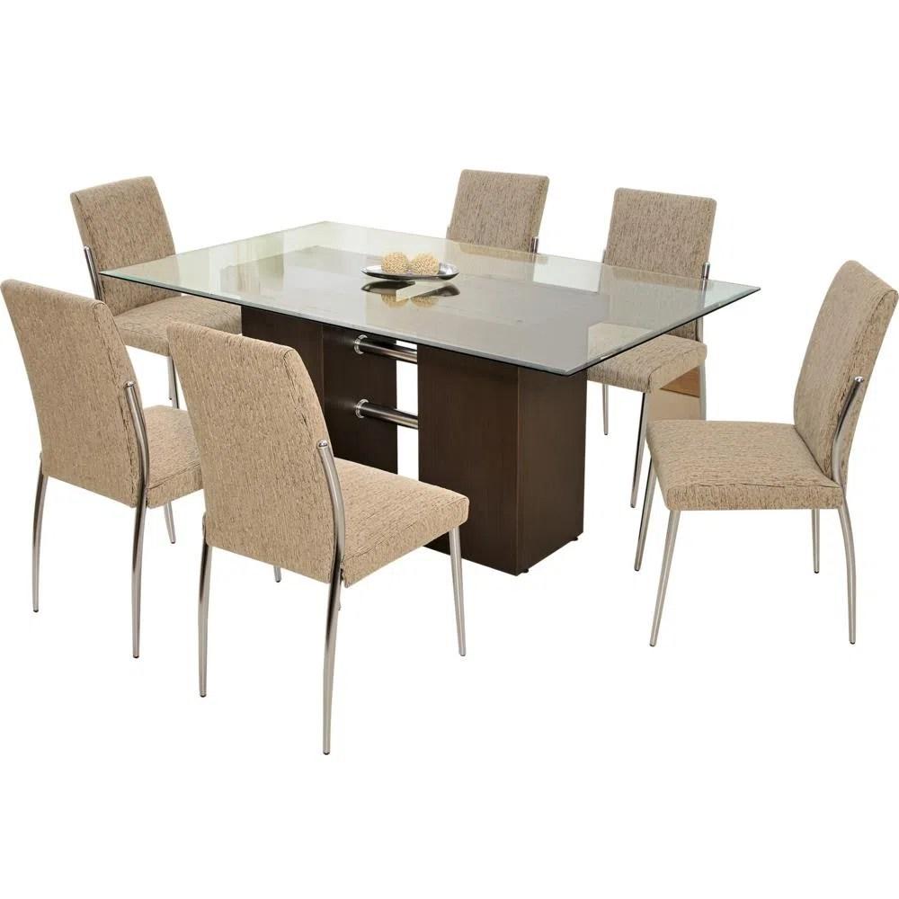 Mesa 6 Cadeiras com Tampo de Vidro  Somopar Hillux