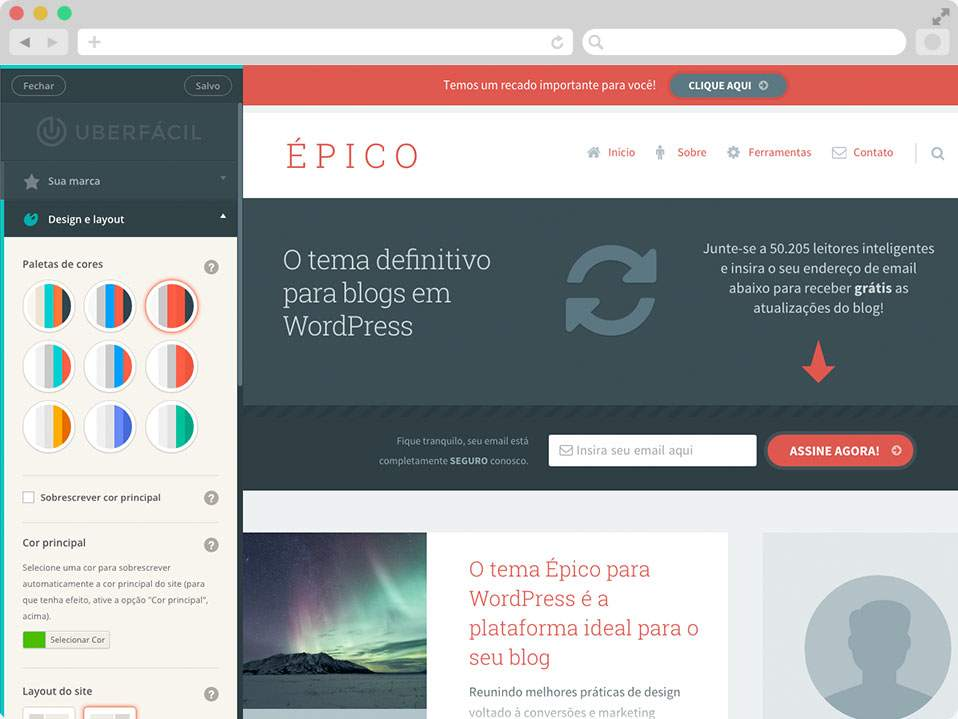 Tema Épico Template WordPress