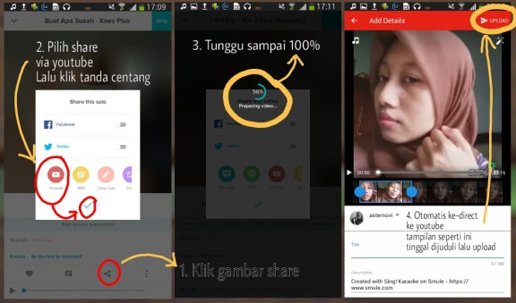 Cara Share Video Smule via Youtube