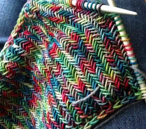 Herringbone Stitch узор елочка или колосок вязание спицами