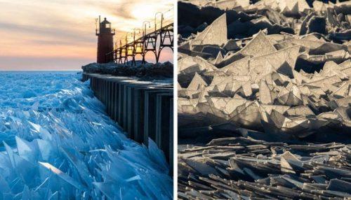 Лёд замёрзшего озера Мичиган рассыпался на осколки. Это редкий и очень эффектный весенний феномен
