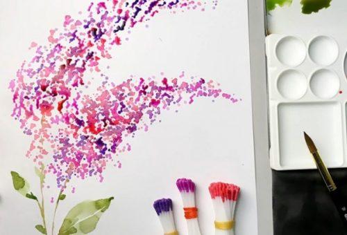 Рисование при помощи ватных палочек