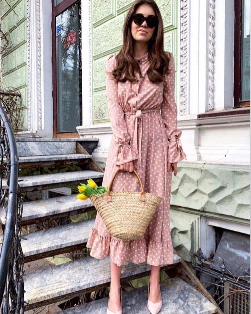 Пудровое платье фото 2