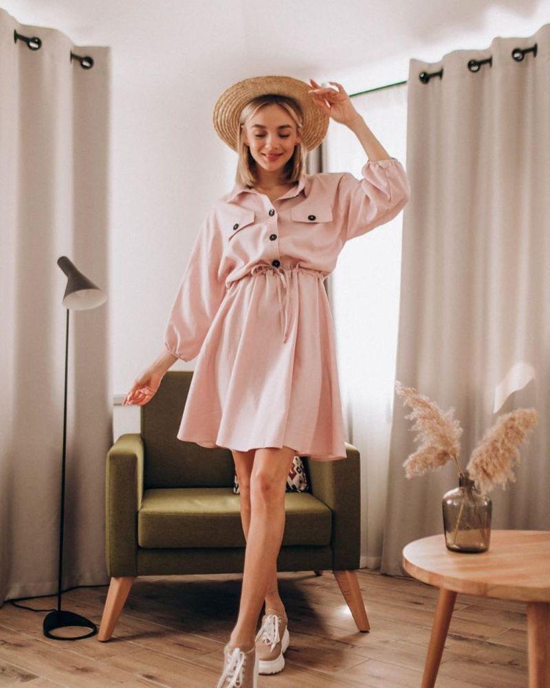Пудровое платье фото 3