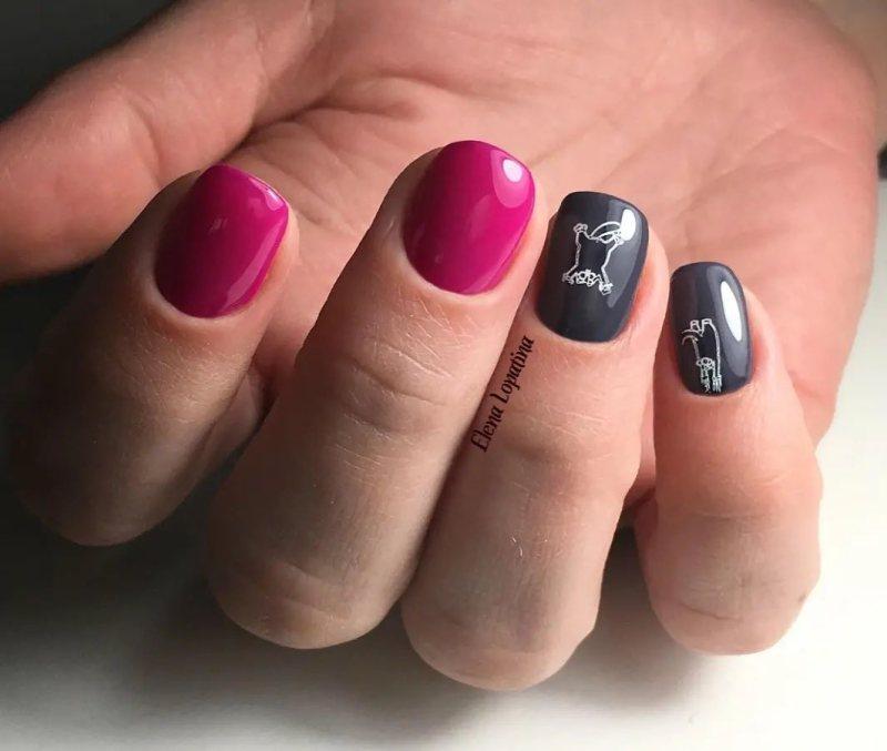 короткие темные ногти_31