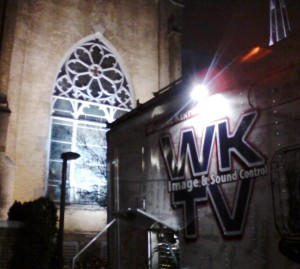 Truck outside cathedral