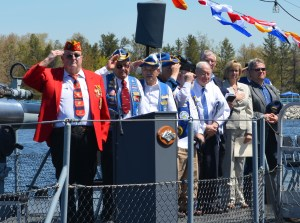U.S. Senator Carl Levin, D-Mich., gave a speech and laid the memorial reef.