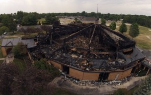 An aerial view of St. Mary Magdalen after the fire. Photo courtesy of Hovercams.