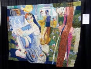 Quilt Woman with Two Gents