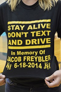 Students wore T-shirts in memory of Jacob Freybler, who died in a car crash involving texting