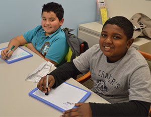 Townline Elementary School fourth-grade students Andrew Rangel-Zavala and Gabriel Toussaint have worked together at tutoring for two year.