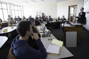 Kentwood officials speak to GVSU marketing students.