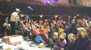 At Kickoff LaughFest 2015 Wendy Wigger hands out freebies to the crowd.