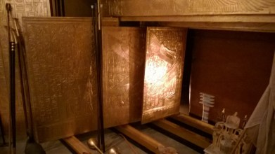 The gold bands wrapping the mummy of Tut.  Here is where researchers discovered major portions of the name seriously altered in ancient times.  An indication that these bands, like other objects in the tomb were at first intended for someone else, probably the queen who ruled as his regent.