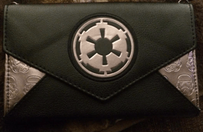 I bought this purse from Bioworld. The symbol on the purse is of the Empire from Star Wars and has stormtroopers.
