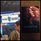 "Left: Jeffery Morris' Future Dude booth. Right: graphic novel of ""Oceanus"" I purchased"