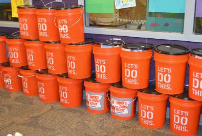 Christ Lutheran Church members donated 24 emergency buckets for Gladiola Elementary classrooms