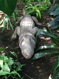 "A ""Crocodile"" by Mimmo Paladino is on display in the Lena Meijer Tropical Conservatory."