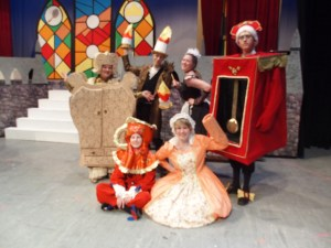 Standing: Ashley Bylsma as Ward, Jared Ebels as Lumiere, Stephenie Griffin as Babs, Lucas Potter as Cogsworth and sitting, Katie Tanja as Chip and Lauren Gibbered as Mrs. Potts