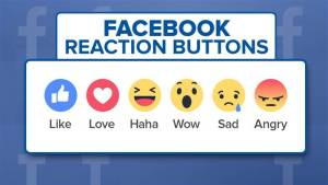 The new Reactions emoji from Facebook.