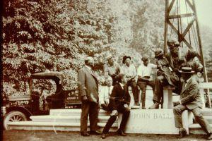 john ball zoo installing statue