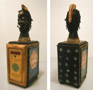 strange oracle 2005 wood paint found african head and mixed media 28 x 9 x 11 inches