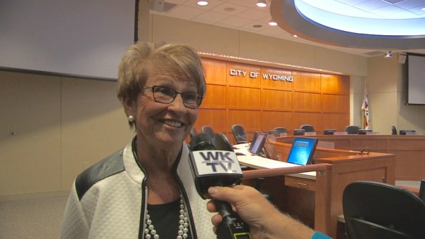 Joanne Voorhees expressed her gratitude to the public for allowing her to serve on the Wyoming City Council for nine years. (WKTV)