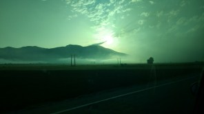 Sunrise on our car journey to the mountains