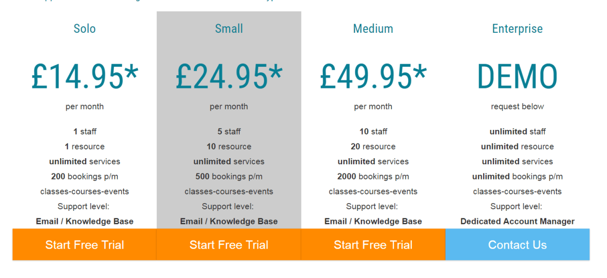 BookingBug's pricing plan (in USD: $21.84, $36.45, and $72.98)