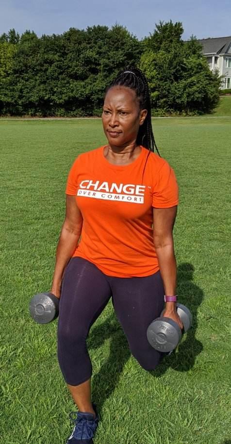 weights with orange over comfort tee