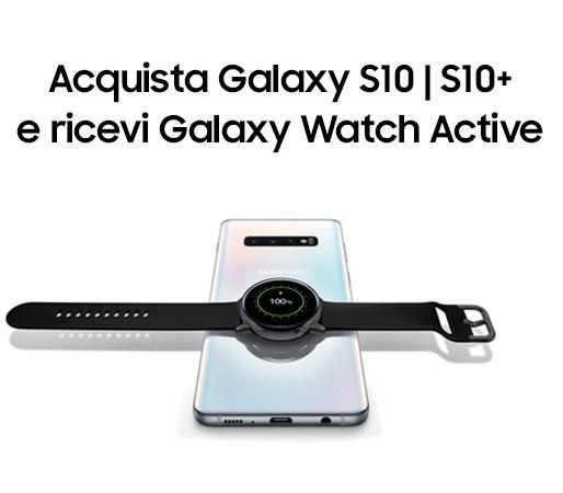 Samsung Galaxy Watch Active insieme a Galaxy S10