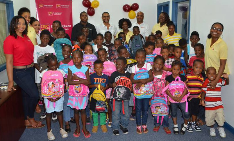 CIBC FirstCaribbean Team with Selection of Students
