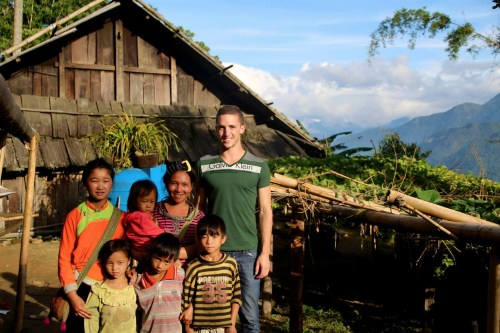 Spielman in the North Vietnam jungle with a Hmong family