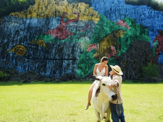 Celinne rides a bull in Viñales, Cuba