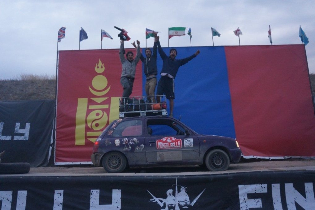 Nowhere Men at the Mongol Rally finish line!