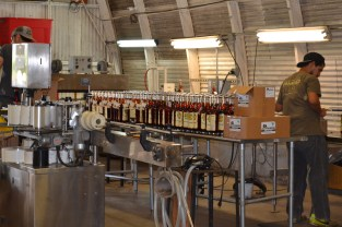 Bottles of rum at the labeling station